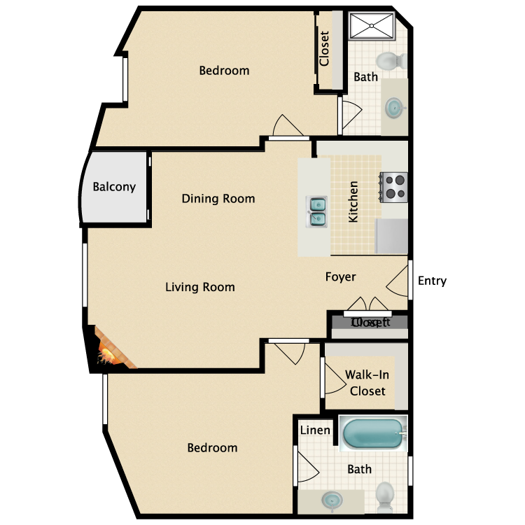 Floor plan image of 2 Bed 2 Bath Plan B
