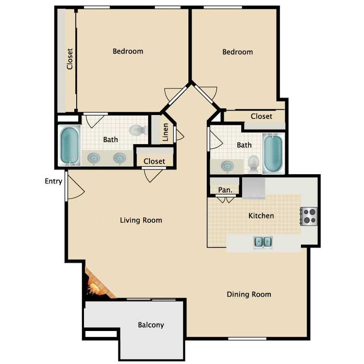 Floor plan image of 2 Bed 2 Bath Plan C