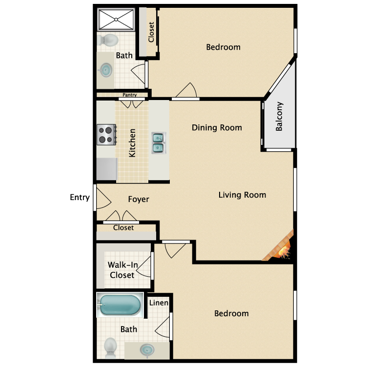 Floor plan image of 2 Bed 2 Bath Plan E