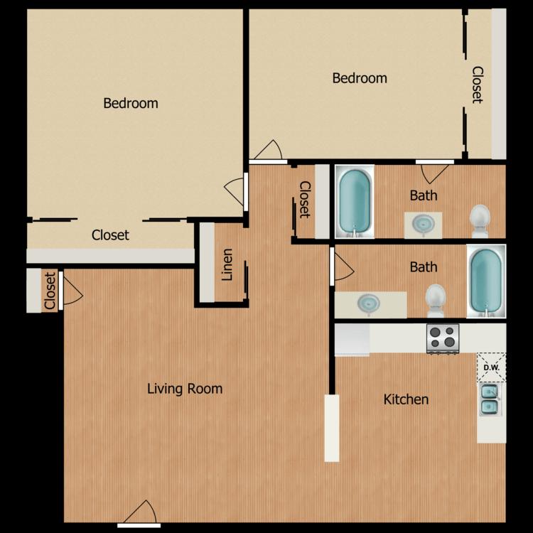 Floor plan image of 2 Bed 2 Bath + Patio