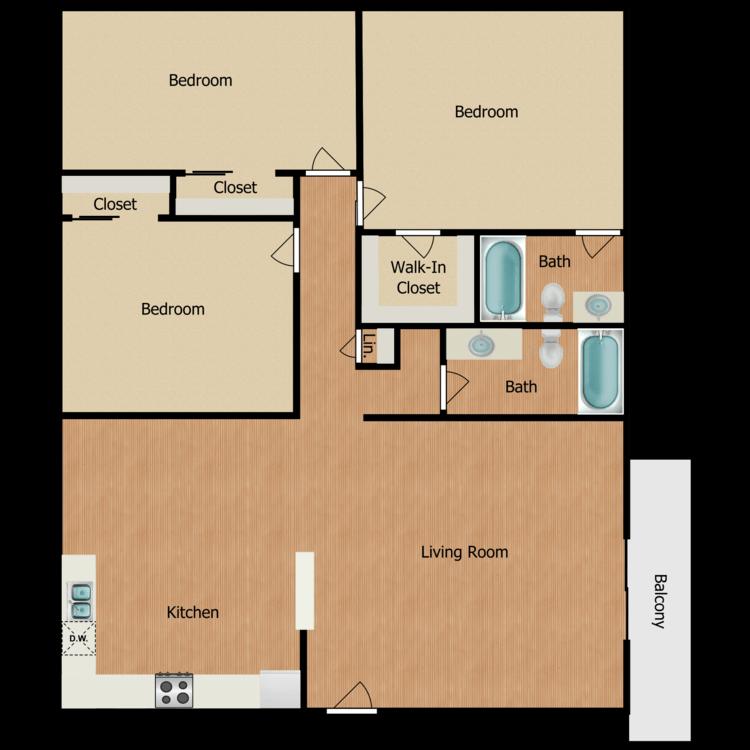 Floor plan image of 3 Bed 2 Bath + Patio