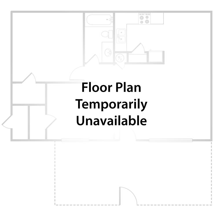 Floor plan image of 1 Bed 1 Bath  Duplex + Patio