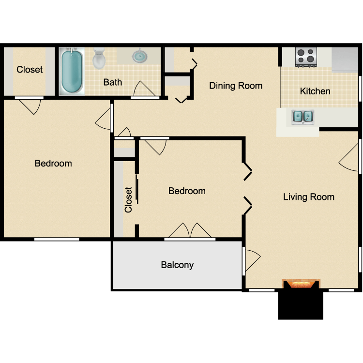 Floor plan image of 2 bed 1 Bath Phase I