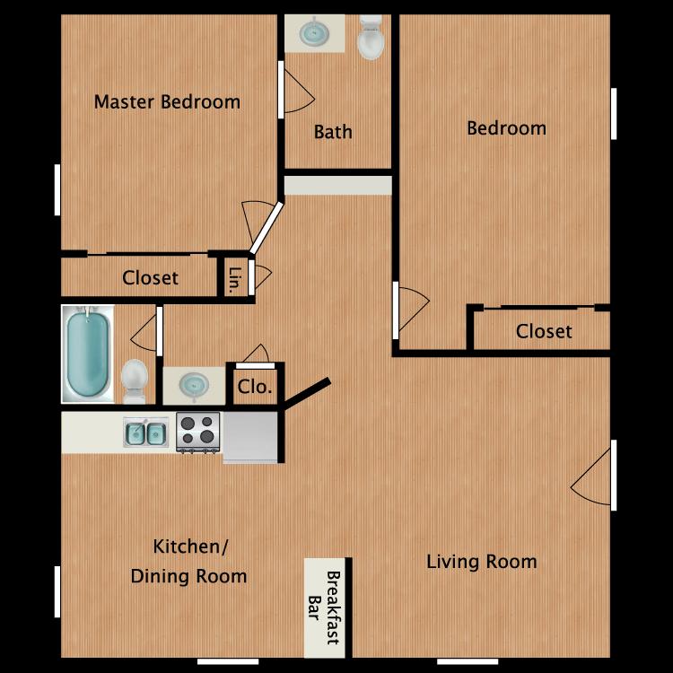Floor plan image of 2 Bedroom - Plan A