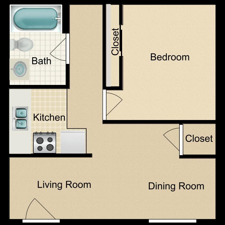 Floor plan image of Efficiency 1 Bedroom