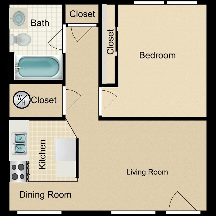 Floor plan image of Large 1 Bedroom