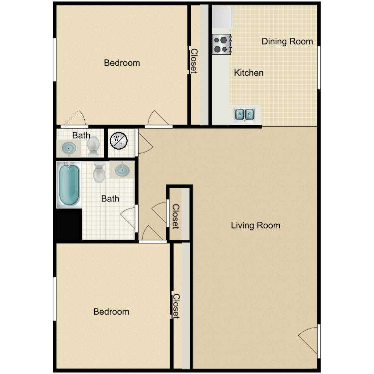 Floor plan image of Large 2 Bedroom