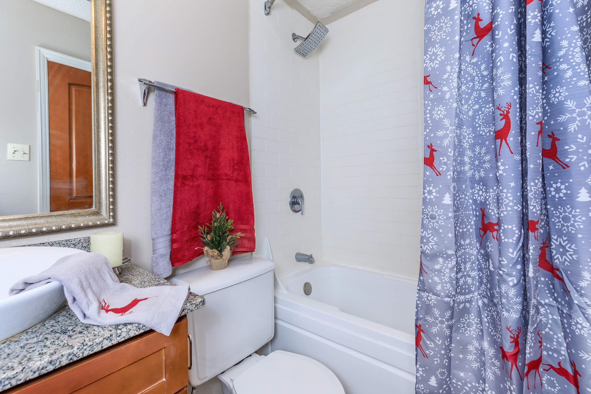 a bedroom with a shower curtain