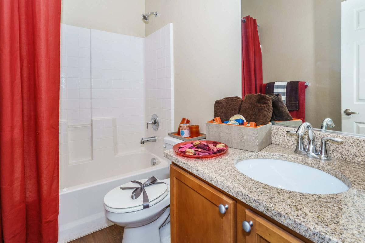 red counter with a sink mirror and shower curtain