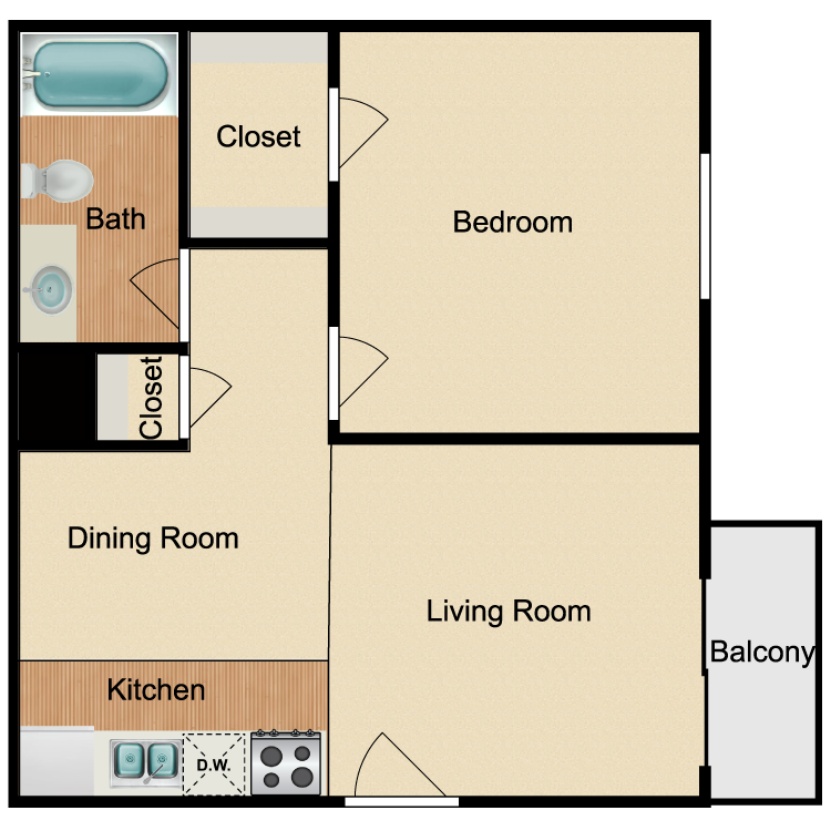 Floor plan image of Renovated 1 Bed 1 Bath A