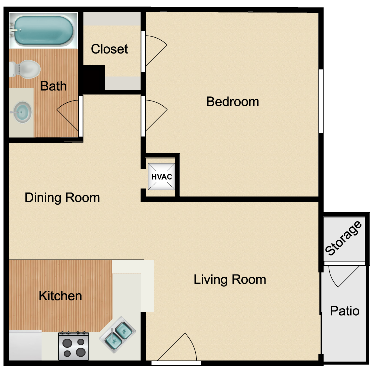 Floor plan image of Renovated 1 Bed 1 Bath B