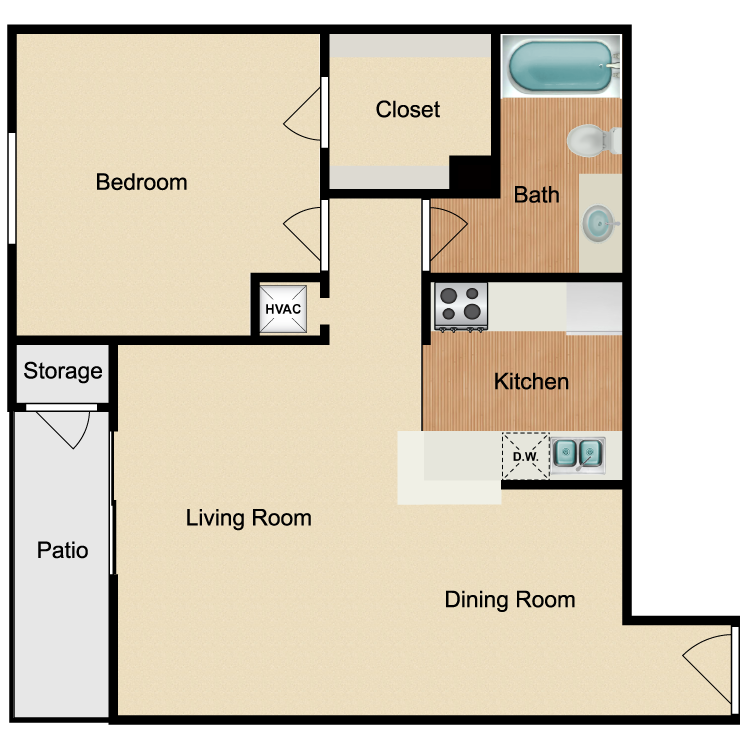 Floor plan image of Renovated 1 Bed 1 Bath C