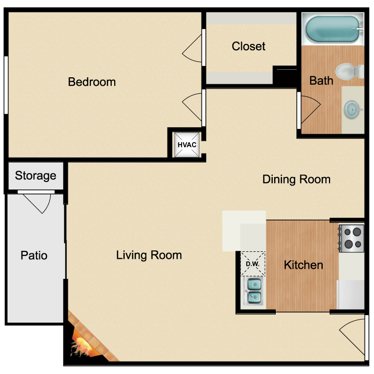 Floor plan image of Renovated 1 Bed 1 Bath D