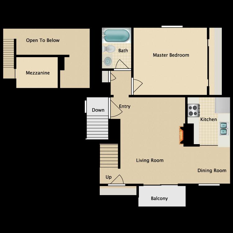 Floor plan image of 1 Bed 1 Bath Loft
