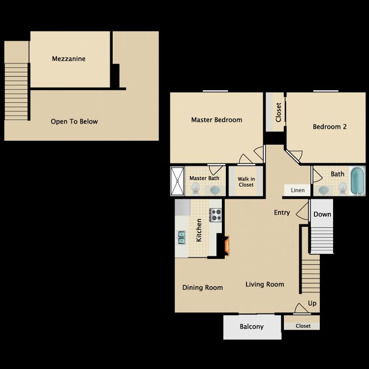 Floor plan image of 2 Bed 2 Bath Loft