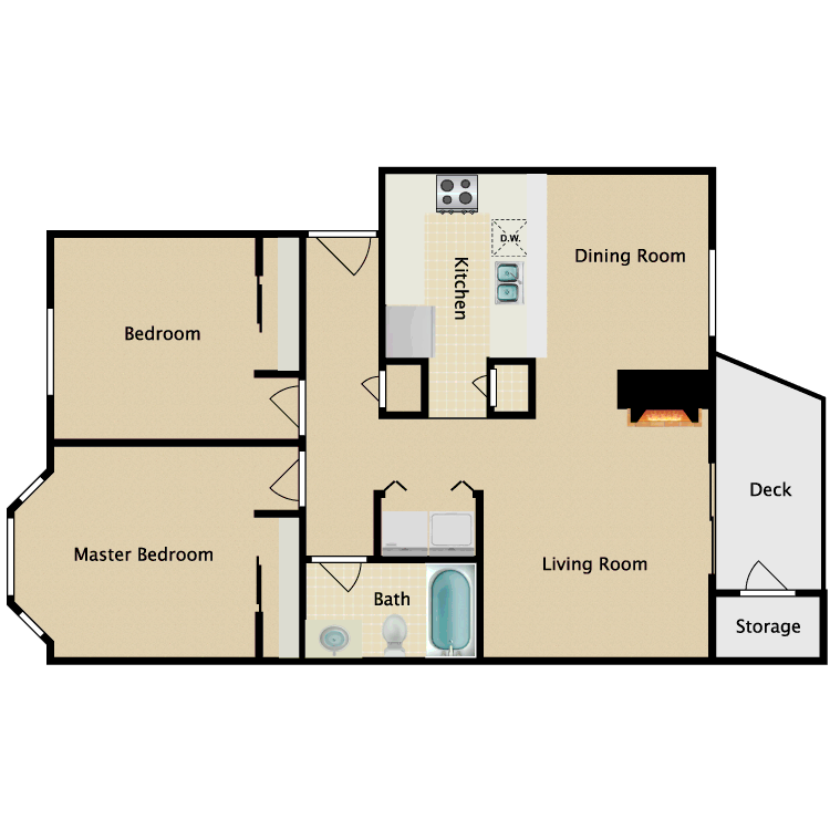 Floor plan image of 2 Bedroom 1 Bathroom