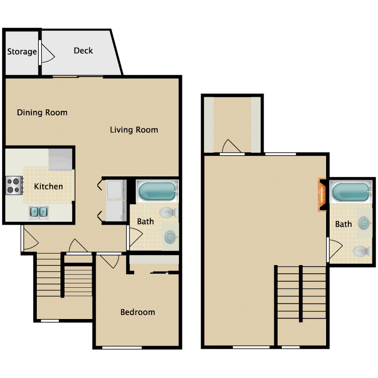 Floor plan image of 2 Bedroom 2 Bathroom Standard Townhome