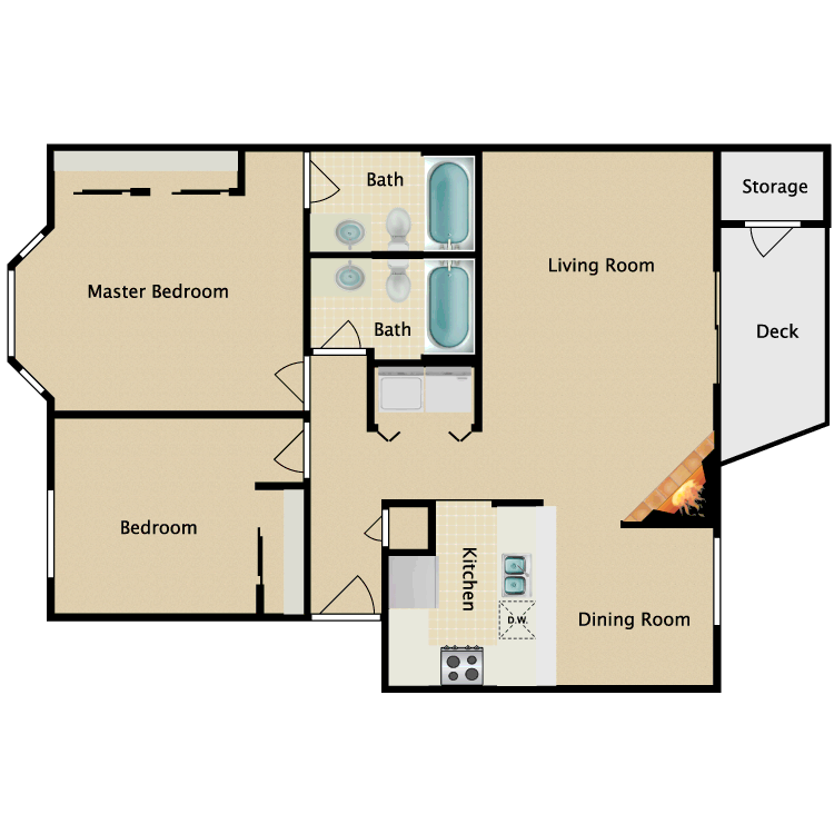 Floor plan image of 2 Bedroom 2 Bathroom Standard