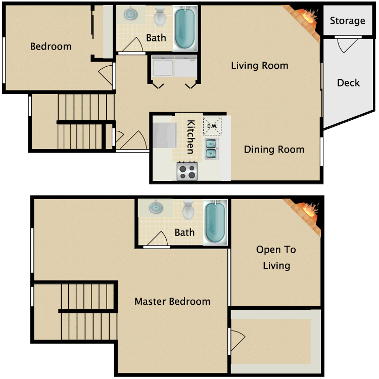 Floor plan image of 2 Bedroom 2 Bathroom Large Townhome