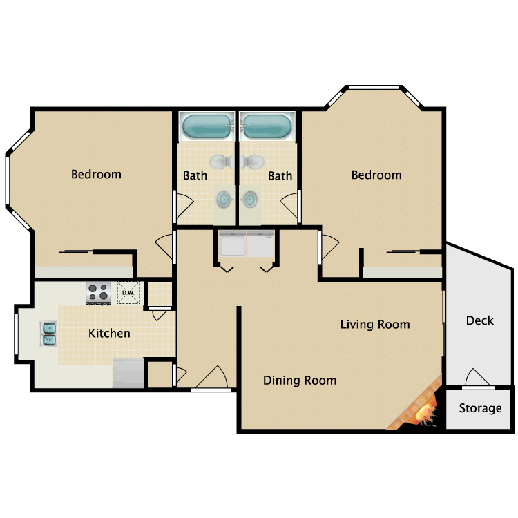 Floor plan image of 2 Bedroom 2 Bathroom Master