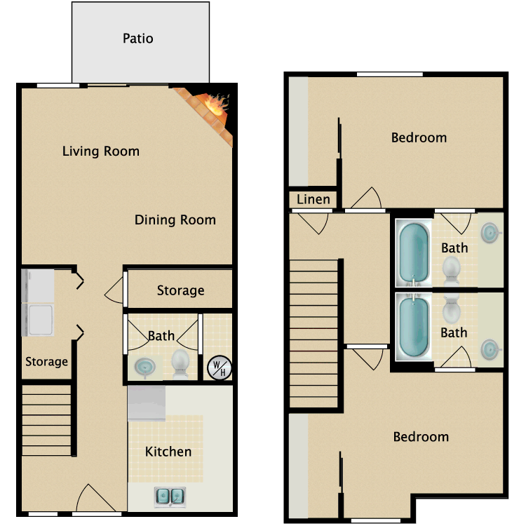 Floor plan image of 2 Bedroom 2.5 Bathroom Small Townhome