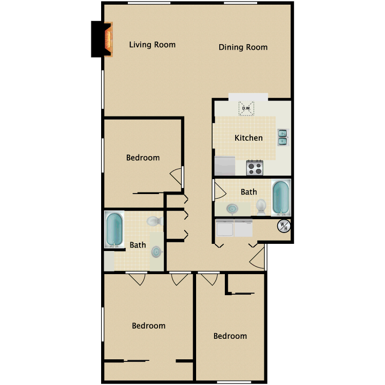Floor plan image of 3 Bedroom 2 Bathroom