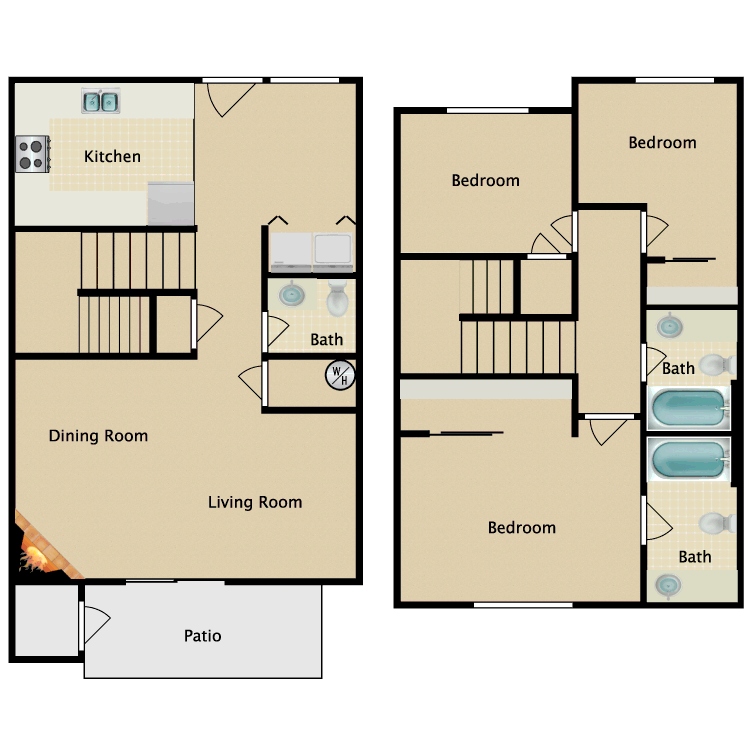 Floor plan image of 3 Bedroom 2.5 Bathroom Townhome