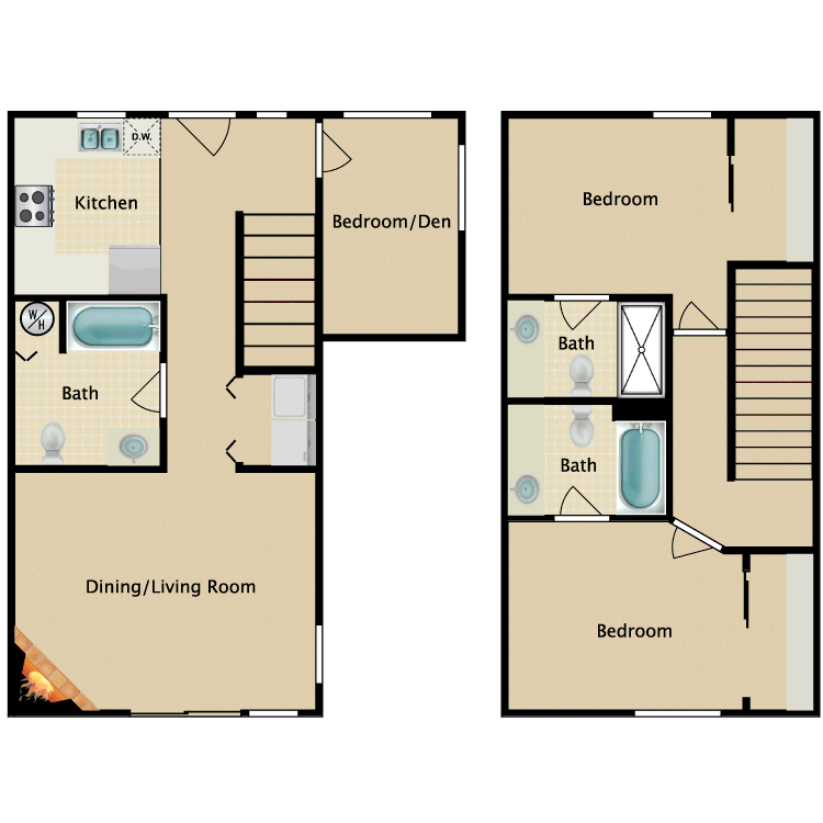 Floor plan image of 3 Bedroom 3 Bathroom Townhome