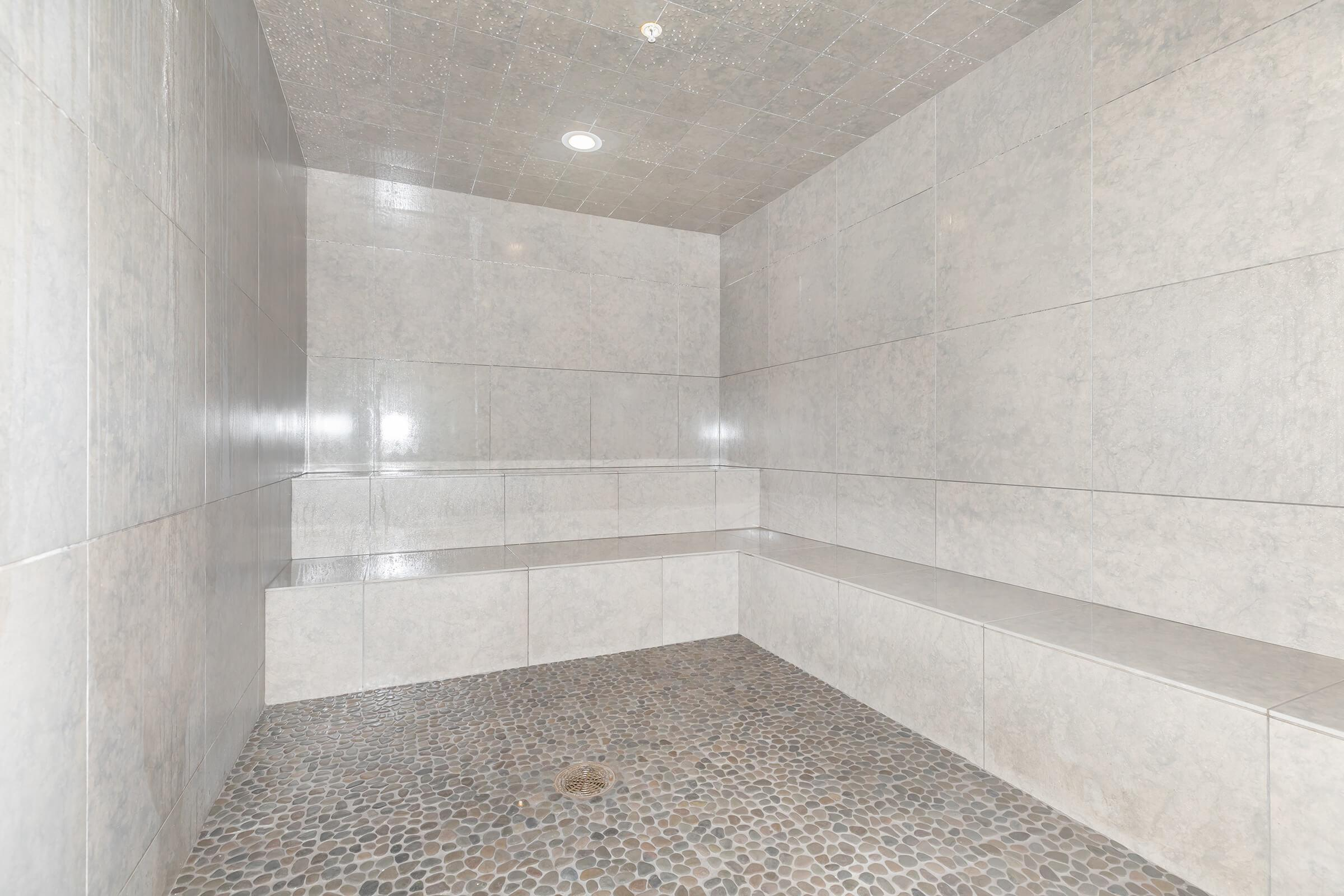 a room with tile walls