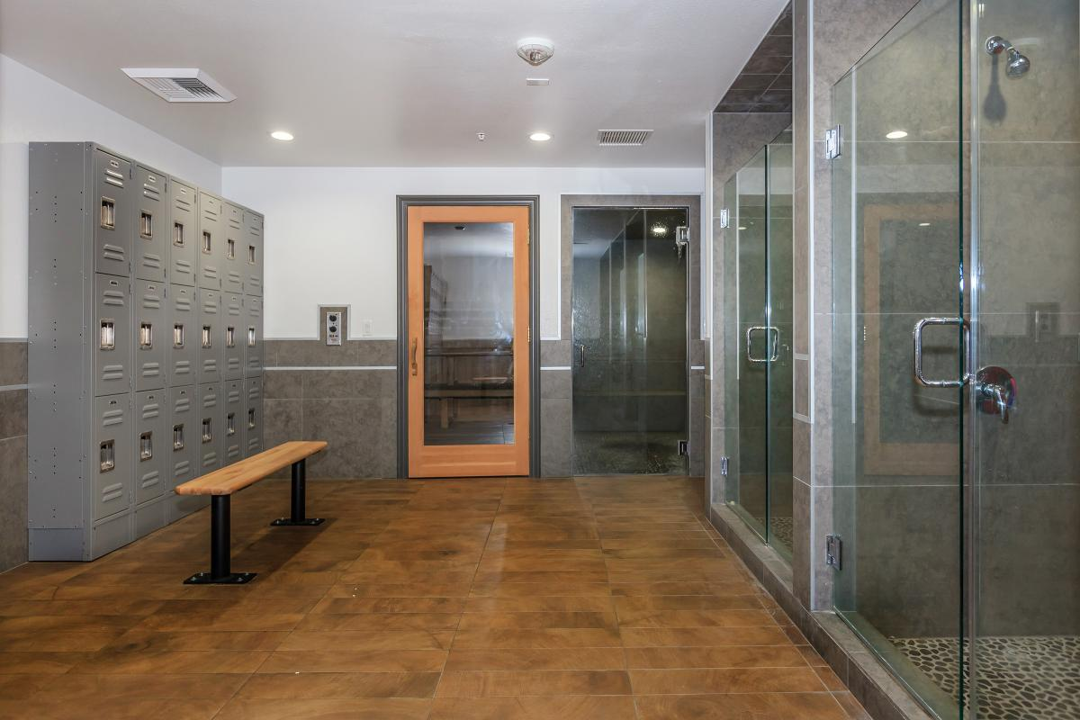 a room that has a glass shower door