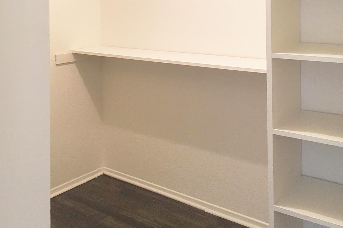 a close up of an empty shelf in front
