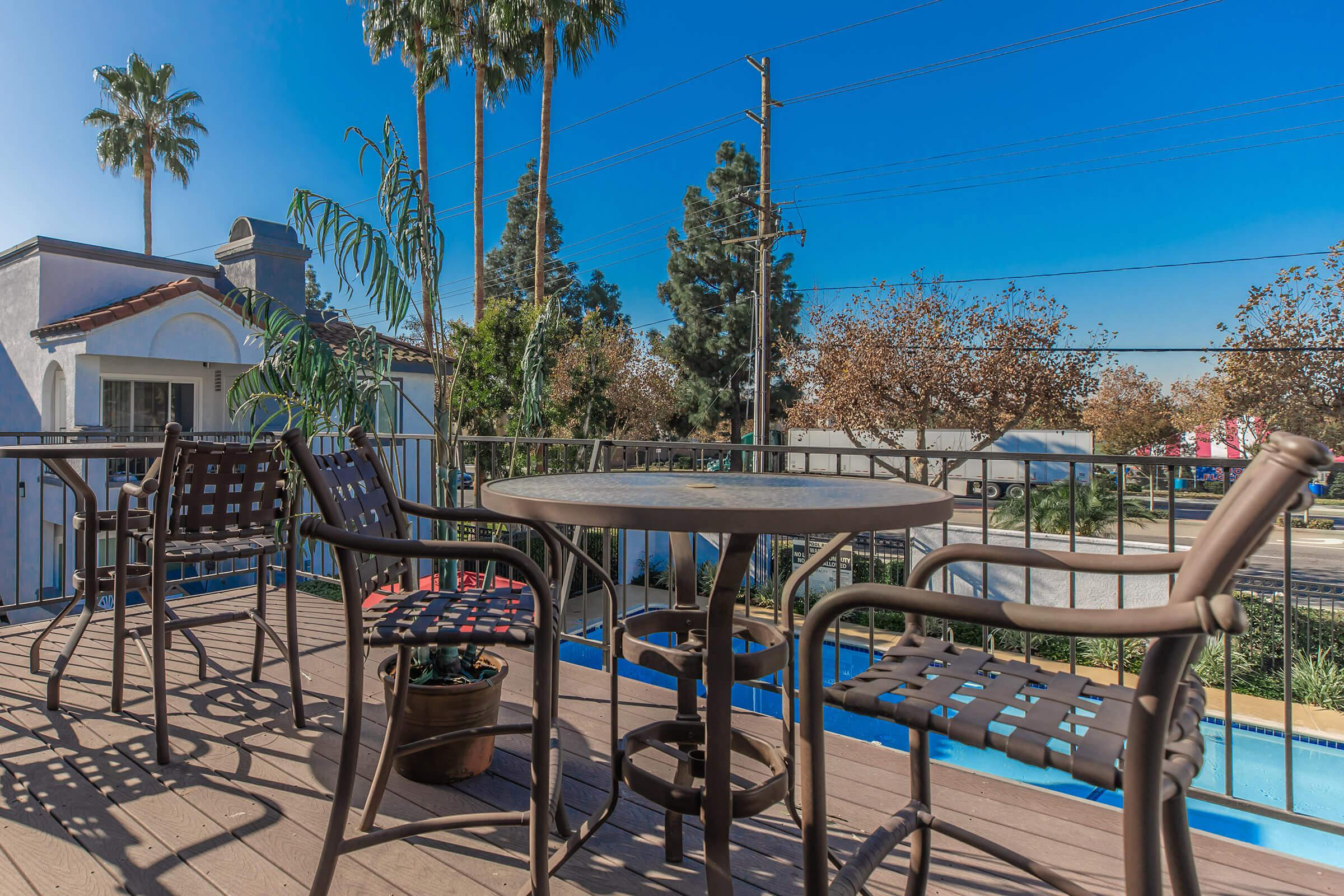 Patio at Enclave at Town Square Apartments in Chino, CA