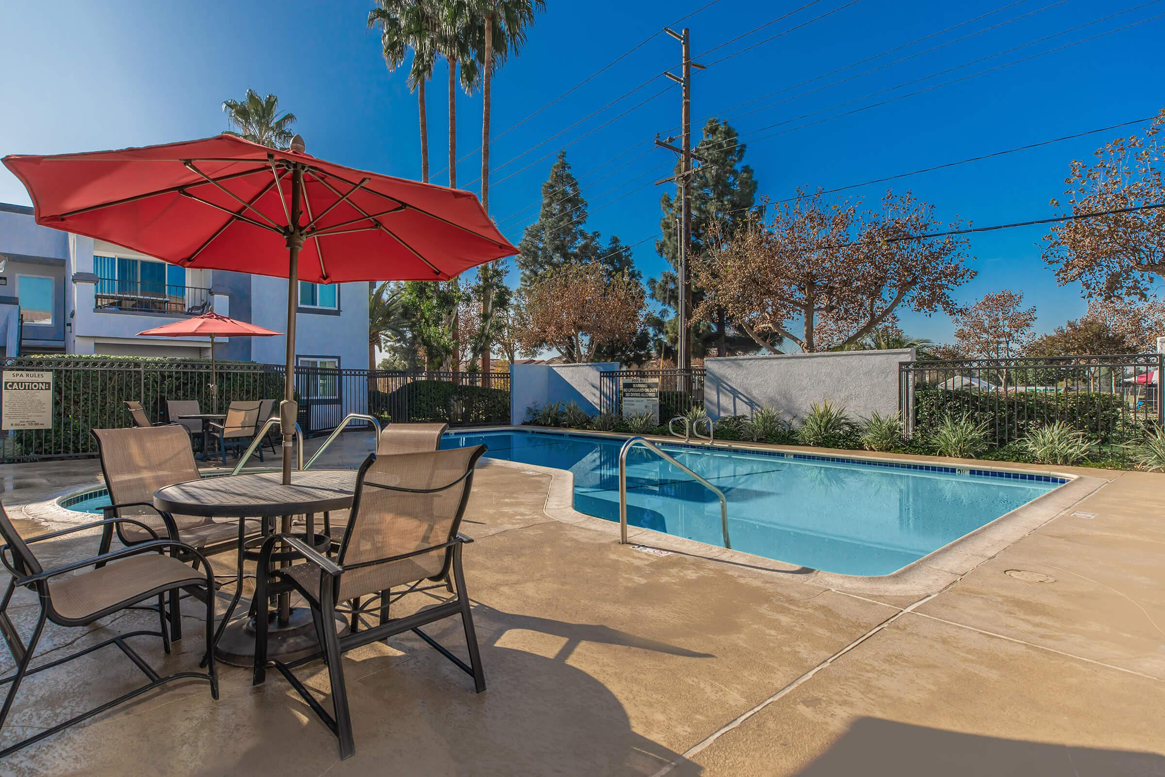 Pool at Enclave at Town Square Apartments in Chino, CA