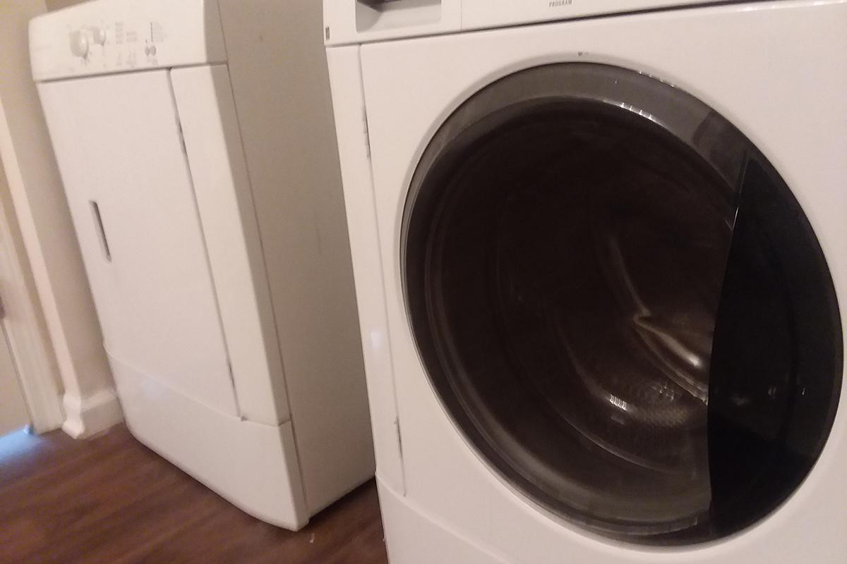 a washer and a microwave