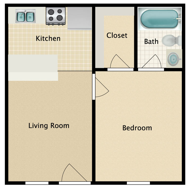 Floor plan image of Motel Room
