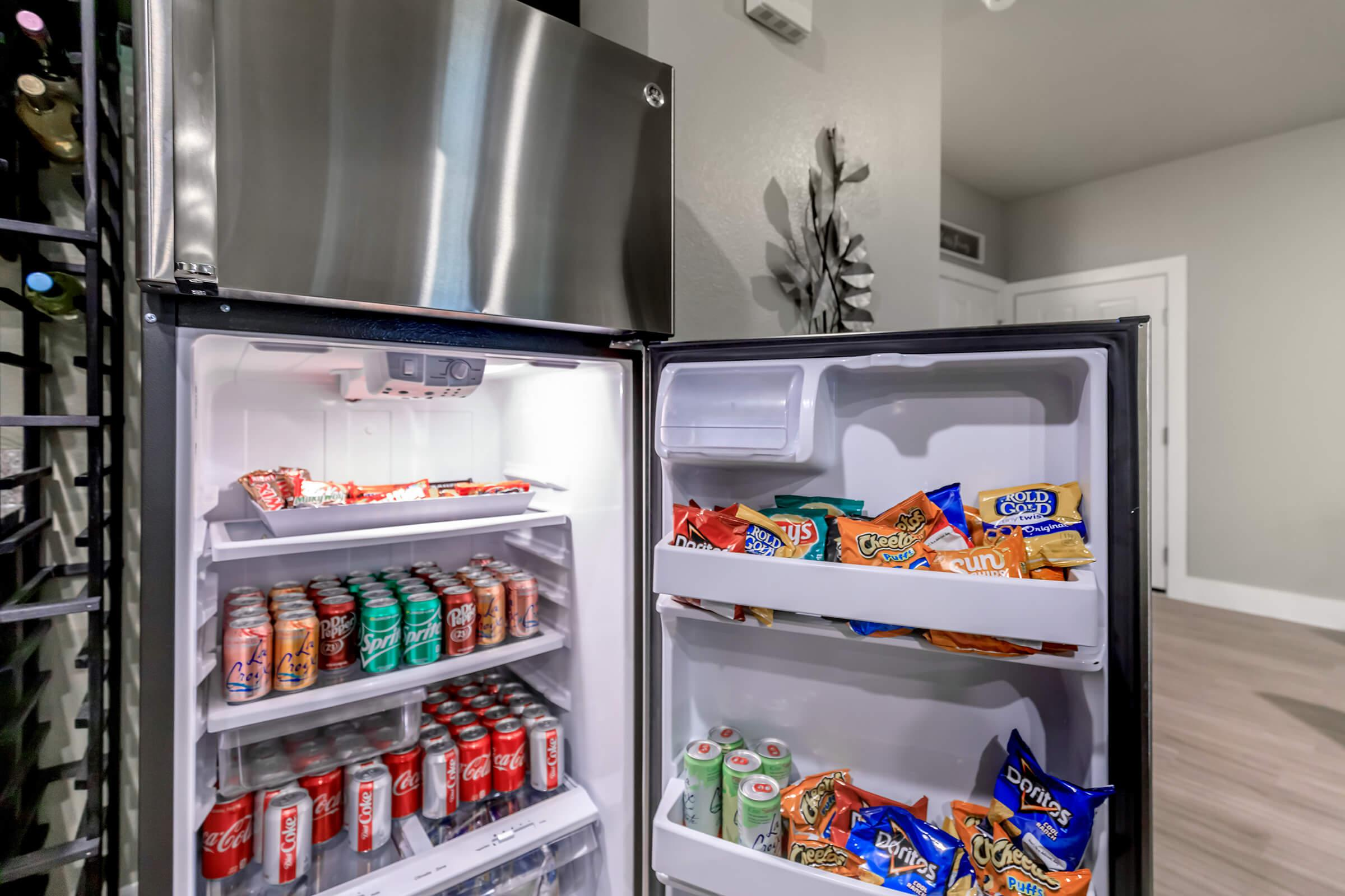 an open refrigerator filled with food