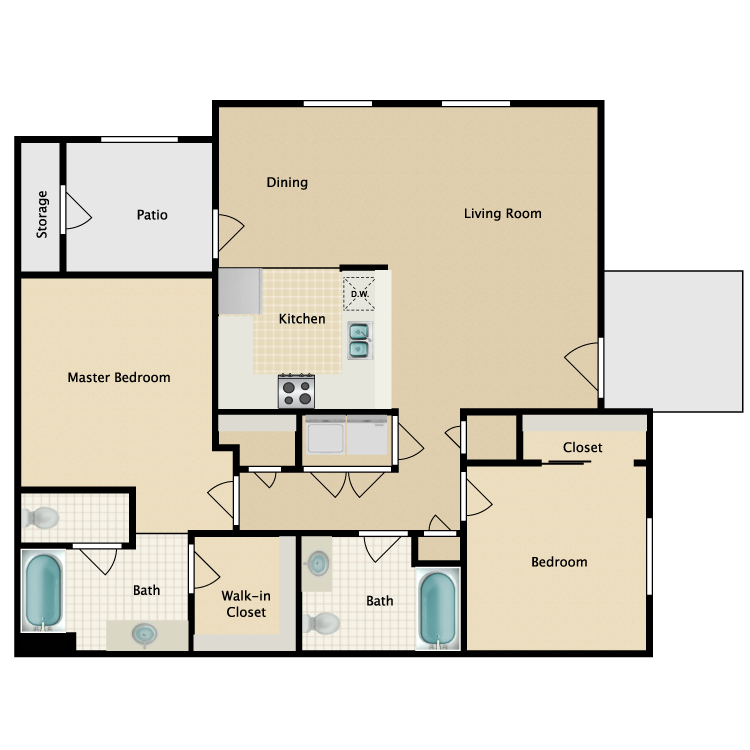 Floor plan image of 2 Bedroom 2 Bath