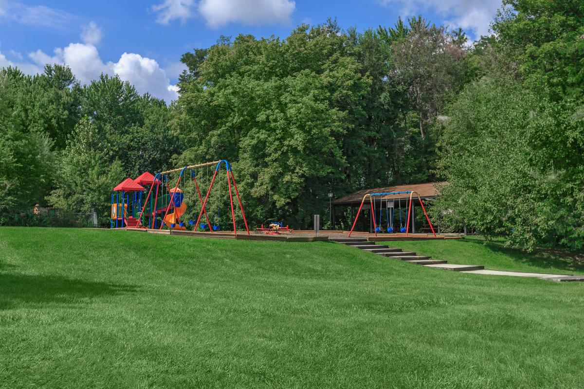 a playground in a grassy field
