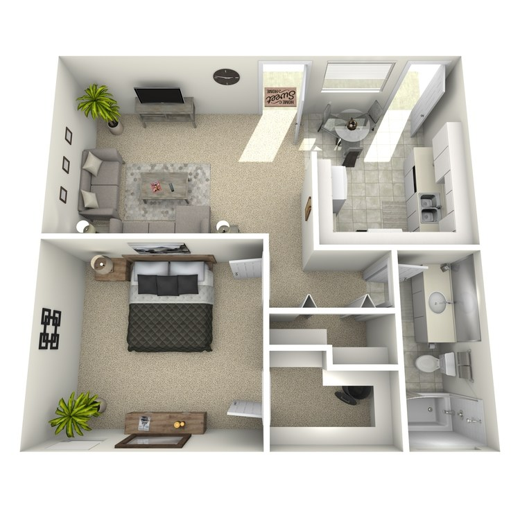 Floor plan image of 1 Bed 1 Bath-Large