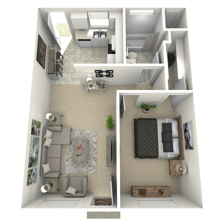 Floor plan image of 1 Bed 1 Bath-Small