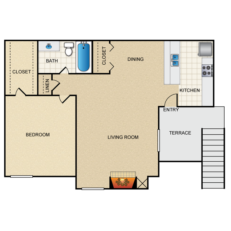 1 Bed 1 Bath A1   A1V. Bel Air Ridge   Availability  Floor Plans   Pricing