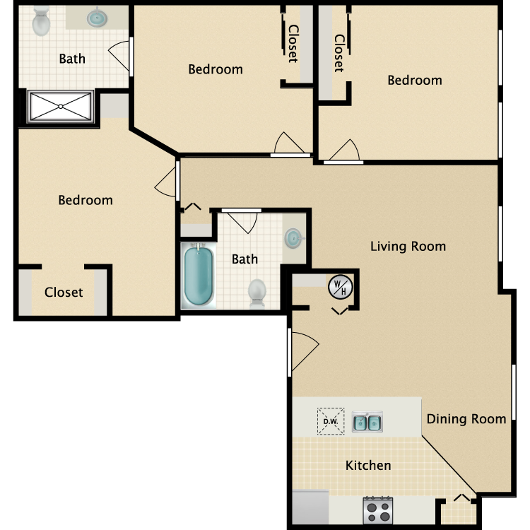 Floor plan image of 3 Bed 2 Bath A