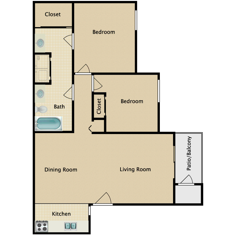 Floor plan image of 2 Bed 1 1/4 Bath
