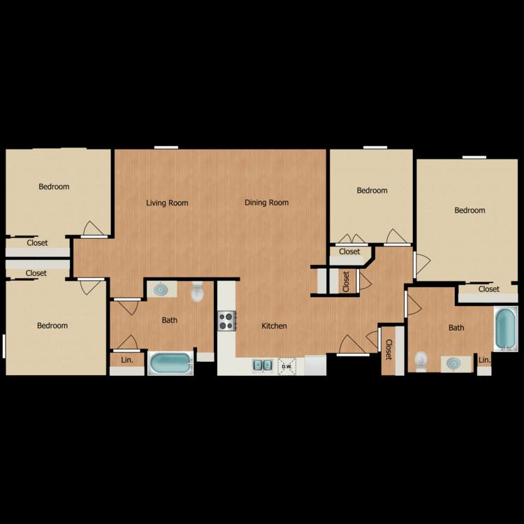 Floor plan image of 4B