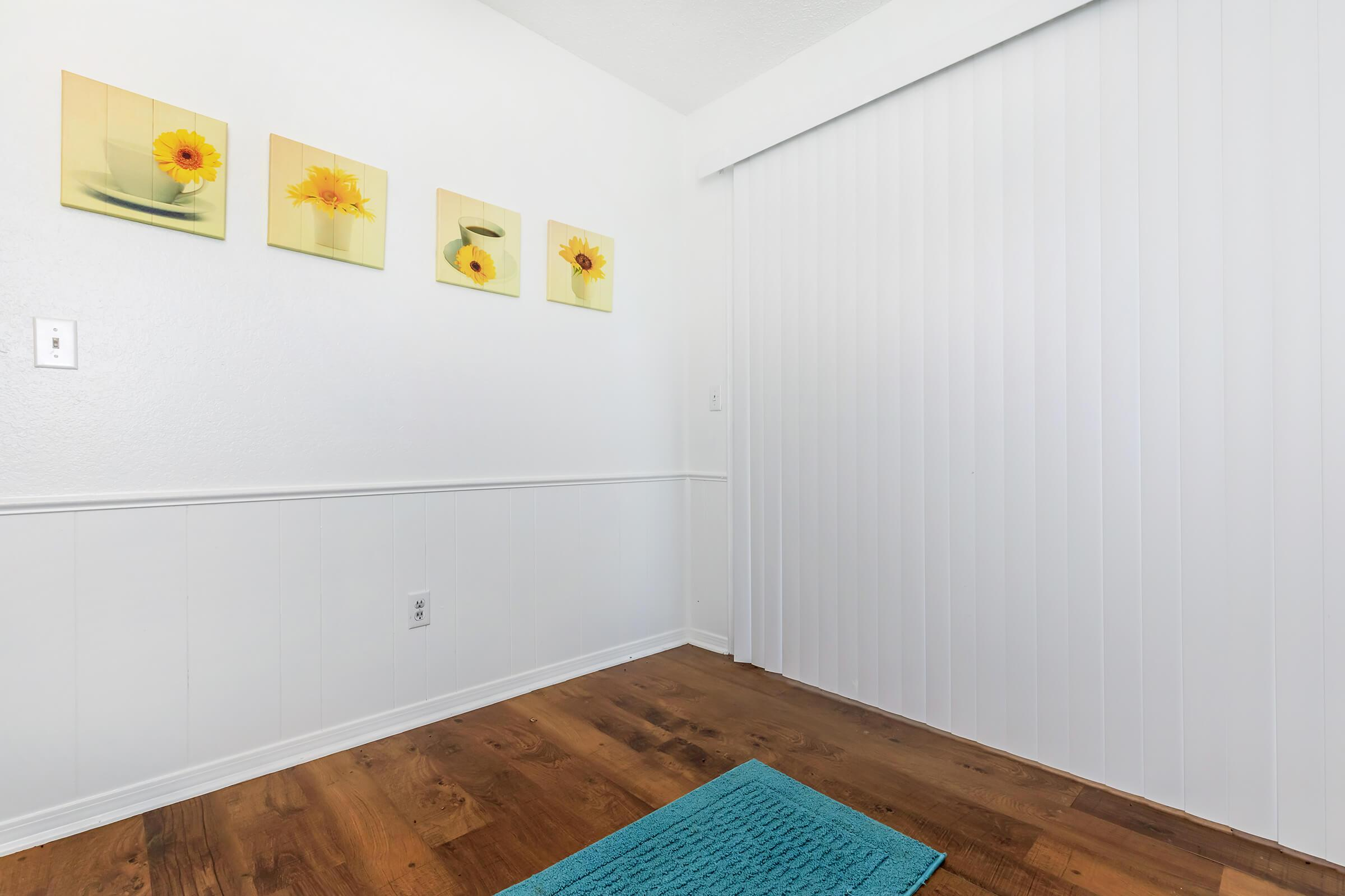 a room with art on the wall