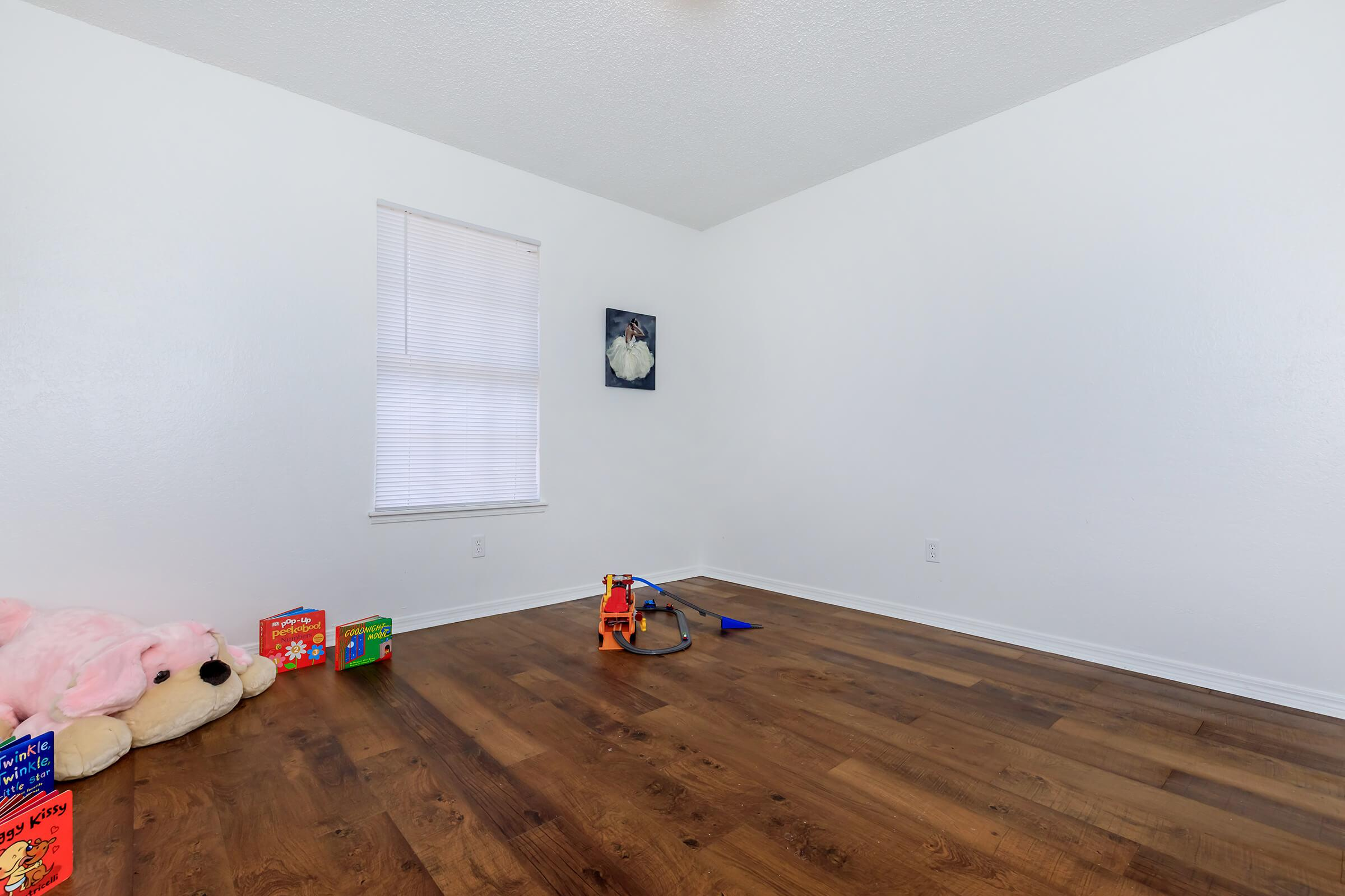 a group of stuffed animals in a room