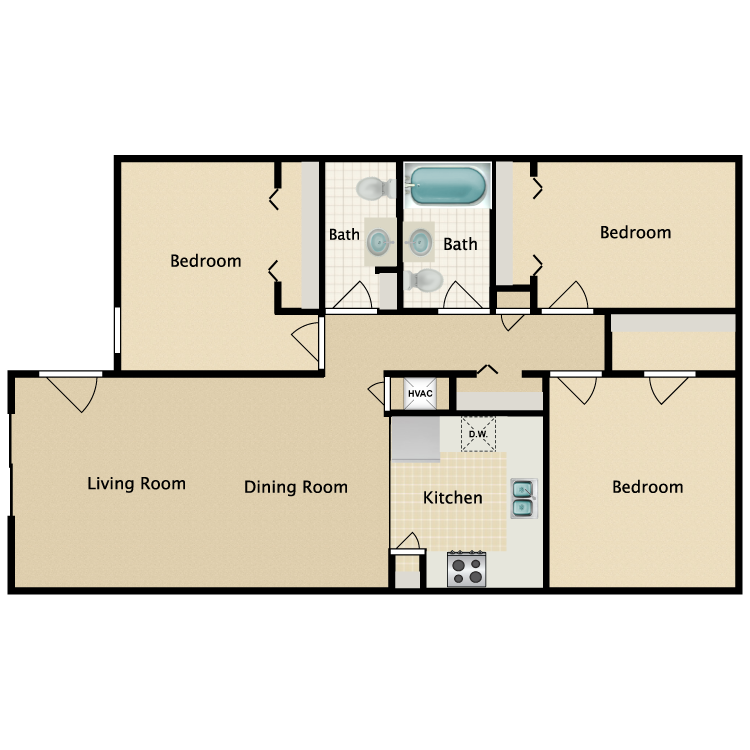 Floor plan image of 3 Bed 1.5 Bath