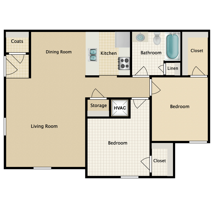 Floor plan image of 2 Bed 1 Bath-A
