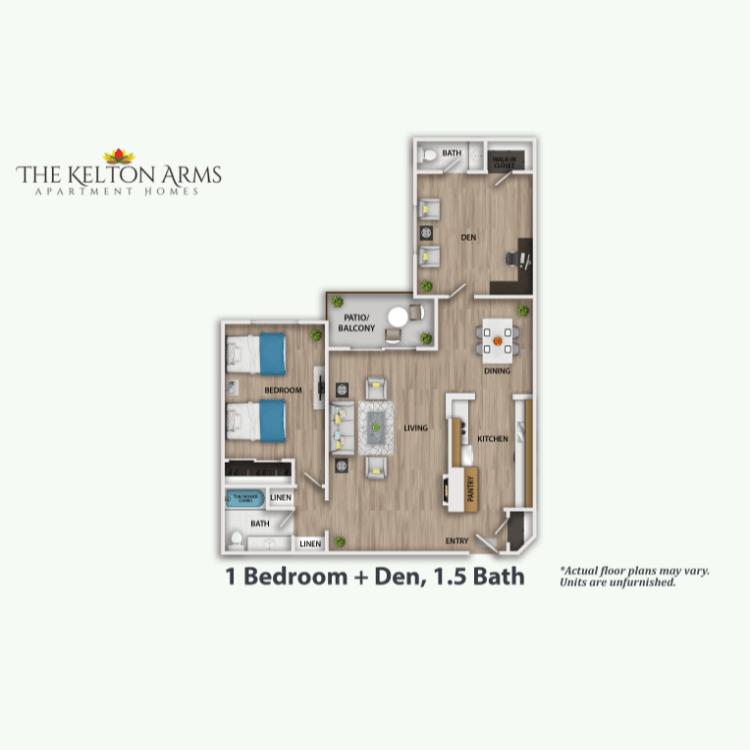 Floor plan image of 1 Bed + Den 1.5 Bath