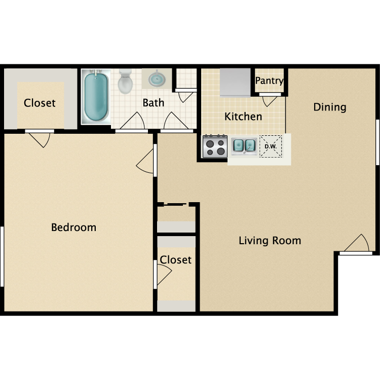 Floor plan image of 1 Bedroom 1 Bathroom